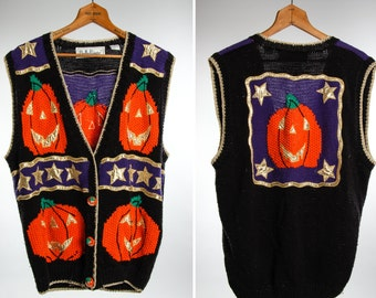 Large 1980s 1990s Vintage Halloween Sweater Vest Cardigan Unisex | 6BB