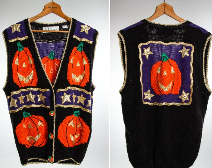 Large 1980s 1990s Vintage Halloween Sweater Vest Cardigan Unisex | 6BB