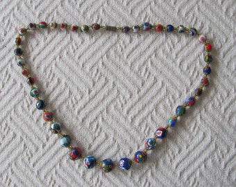 Vintage Murano Bead Necklace Italian Millifiore