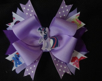 My Little Pony inspired bow, twilight sparkle 5 inch hairbow