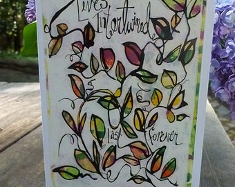 INTERTWINED, Sympathy Card, Care and Concern Card, Inspirational Card, Rembrance Card, Wedding Card, Friendship by Seattle Artist Mary Klump