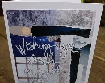 """CHRISTMAS CARD, """"Wishing You Warmth on a Cold Night"""", Holiday Card, Mixed Media Art Card ,SnowCard, Winter Card by Seattle Artist Mary Klump"""
