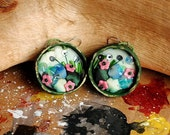 Statement embroidered fabric textile fall forest meadow floral nature happy, woods earrings - contemporary- Acorn