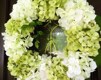 Spring Wreath - Summer Wreath -  Wreath For The Door - Hydrangea Wreath - Wreath - Year Round Wreath