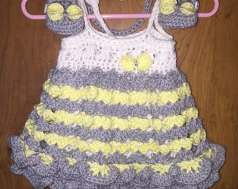 Crochet Baby Romper Set, 0 - 3 months, Headband, Romper, Mary Janes, Ready to Ship, Free US Shipping