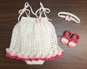 Crochet Baby Girl Romper Dress Set, Headband, Romper, Sandals, 6 to 9 months, Ready to Be Shipped, Free US Shipping