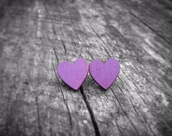 Purple Wood Heart Stud Earrings
