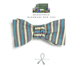 Mens bowtie, petrol green, grey, yellow, freestyle, self tie, for men, adjustable bowtie - handmade by Bagzetoile