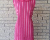 ON SALE Vintage Sweater Dress - Pink Sweater Dress - Pink Stripes - Tube Dress - Vertical Stripe Dress - Sally Gee Dress