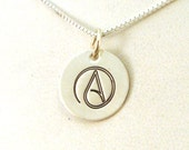 Atheist Necklace - Atheist Jewelry - Atheist A Necklace - Sterling Silver Jewelry