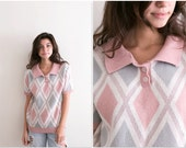 80s Knit Pastel Sweater Polo / Geometric Print Abstract Shirt / Unisex Collared Pullover Button Up / Oversized Pink and Gray Diamond