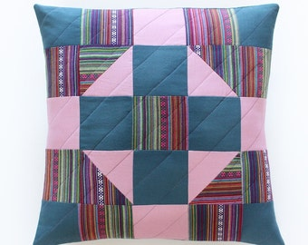 Teal Quilted Pillow Cover
