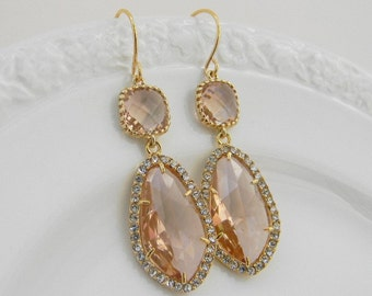Large Gold Champagne Earrings - Peach Bridesmaid Earrings - Champagne Bridesmaid Jewelry -Blush Wedding  Jewelry - Statement Earrings -Gift