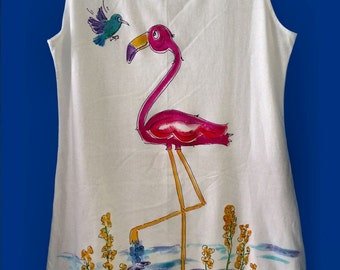 Pink Flamingo Hand Painted Sleeveless Summer Dress or CoverUp