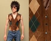 vintage suede argyle vest Northwest Territory brown green tan suede vest hippie boho leather vest 70s 80s vintage small S