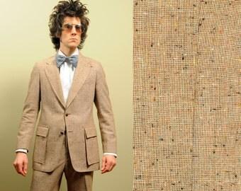 mens vintage 70s tweed suit oatmeal tan flecked tweed elbow patch J Riggings wide leg flare pant vintage mens suit 36-38R 36 38