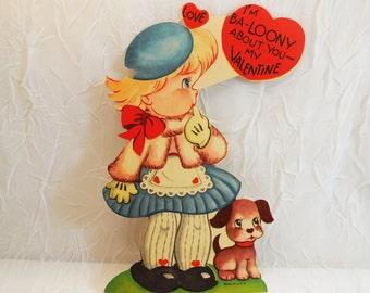 Blonde Girl with Dog Valentine Card circa 1950's, crafting scrapbook ephemera