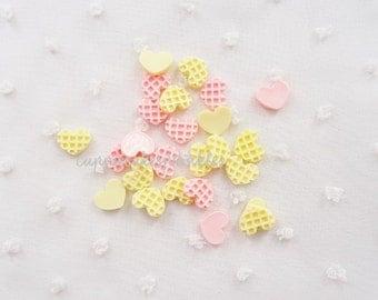 10pcs - Mini Heart Waffles Mix Decoden Cabochon (11mm) HSW10014