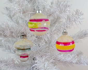 Unsilvered Vintage Christmas Ornaments Shiny Brite Tornado Pink Yellow Green White Mica Striped Set of 3 Three WWII Era 1940's