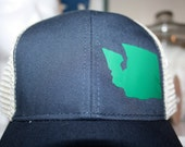 Washington 'Green State' Hat - Go Green! - 'Evergreen State' Trucker Hat - Organic/ Recycled Material Hat