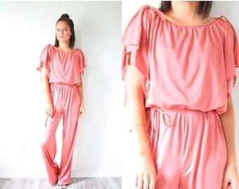 20% OFF HALLOWEEN SALE Vintage peachy jumper // pink jumpsuit // romper jumper playsuit // orange pink overall style jumper // 70's 60's pla