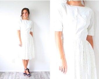 20% OFF HALLOWEEN SALE Vintage Wedding dress long sleeve lace // boho short wedding dress // tea length lace 1950's wedding dress // modest