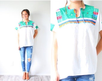 20% OFF HALLOWEEN SALE Vintage embroidered Mexican festival tribal print top // boho navajo slouchy shirt // aztec summer shirt // southwest