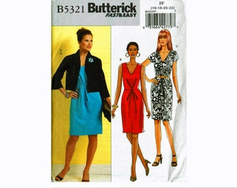 Fast & Easy Dress and Jacket Pattern 16 18 20 22  UNCUT OOP Sewing Pattern Butterick 5321 Dress with V neckline and sleeve options