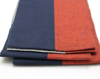 Japanese Obi. Red Blue Gray Striped Cotton Tsumugi Pongee (Ref: 1222)