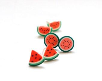 Tiny Watermelon Fun Post Earrings - Full / Half / Quarter