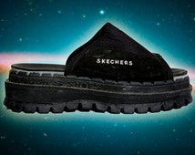 90s Vintage Sketchers Neoprene Health Goth Treaded Sole Flatform Sandals