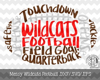 Messy Wildcats Football design INSTANT DOWNLOAD in dxf/svg/eps for use with programs such as Silhouette Studio and Cricut Design Space