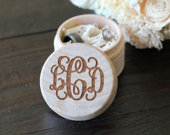 Vine Monogram Ring Box Rustic Country Wedding Ring Box Ring Bearer Ring Box Keepsake Ring Box Photo Prop Ring Box