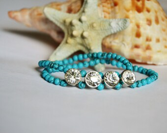 CRYSTAL TURQUOISE Double Row Stretch Bracelet Large Crystal Beads
