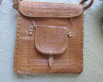 "tooled leather messenger bag,,unusual, 11"" by 12""tooled leather bags"
