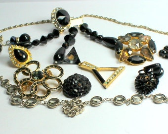 Destash Craft Lot of Vintage Salvaged Black Rhinestone  and Glass Jewelry Parts and Pieces