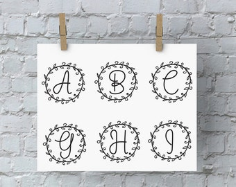 Circle Monogram - SVG Files for Silhouette - Monogram - Monogram Fonts - Digital Fonts - Cricut Monogram Fonts - Silhouette Files - Alphabet