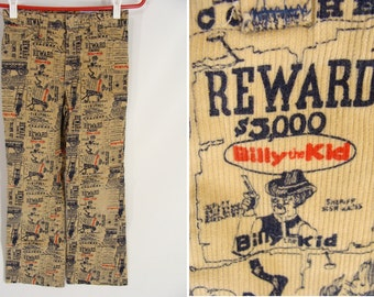 SALE was 42.22. vintage 70s Billy The Kid - Wanted Dead Or Alive Reward Posters Print Corduroy Pants Cords Boys Children's size 10 11 or 12