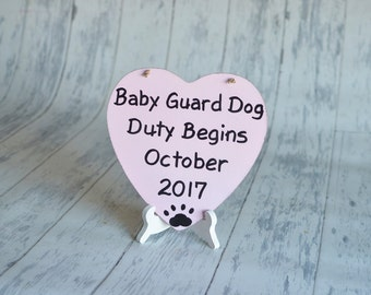 Baby/Pet/Birth Announcement/Gender Reveal/Large Pet's Photography Prop-Baby Guard Dog Duty-Your Choice of Colors-Ships Quickly