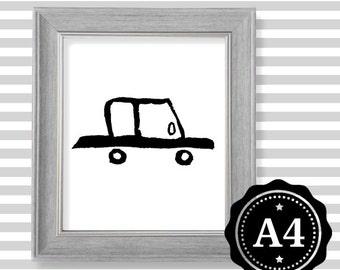 CAR wall art print Car illustration Painting Kids room decoration Nursery decoration Cute decoration Black and white Scandinavian style