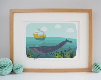 Whale Print, A4 Underwater Whale Art Print, Under the Sea, Fishing Illustration, Childrens Bedroom Print, Nursery Wall Art, Baby Print