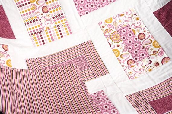 "Baby Girl Quilt - Modern Quilt Baby - Baby Blanket - Pink Baby Quilt - Crib Quilt - Baby Girl Blanket - Baby Bedding  40"" x 50"""