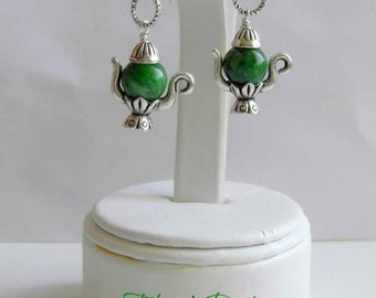 Tea Pot Earrings, Green Jasper Earrings, Holidays Girl Jewelry, Post Earrings