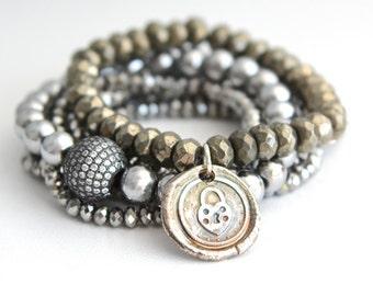 Fine Silver Heart Bracelet Sterling Silver Love Key Lock Wedding Anniversary Engagement Beaded Bracelet Boho Bohemian Jewelry Gift for Her