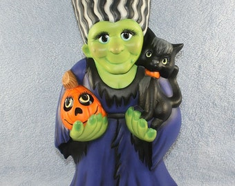 Handpainted Ceramic Bride of Frankenstein holding a Black Cat and a Jack O Lantern