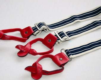 Casual Mens SUSPENDERS, Runner and trauser braces, Handcrafed with Faux Leather