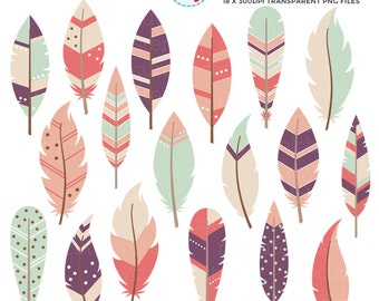 Soft Feathers Clipart Set - assorted feathers clip art set, feather, tribal, pretty - personal use, small commercial use, instant download