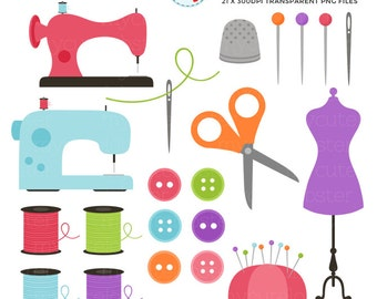 Sewing Clipart Set - clip art set of sewing items - personal use, small commercial use, instant download