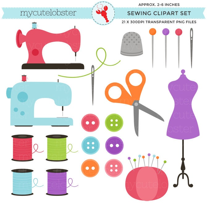 Sewing Clipart Set clip art set of sewing items personal