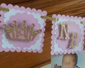 Pink Gold Crown Photo Banner, Princess Clothespin Photo Banner, Pink and Gold Collection , 1st birthday photo banner